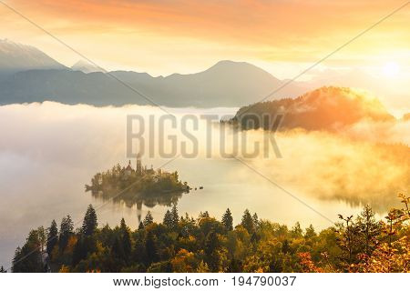 Sunrise at lake Bled from Ojstrica viewpoint Slovenia Europe