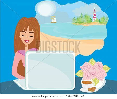 secretary dreaming about holiday , vector illustration