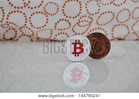 Red And Brass Bitcoins