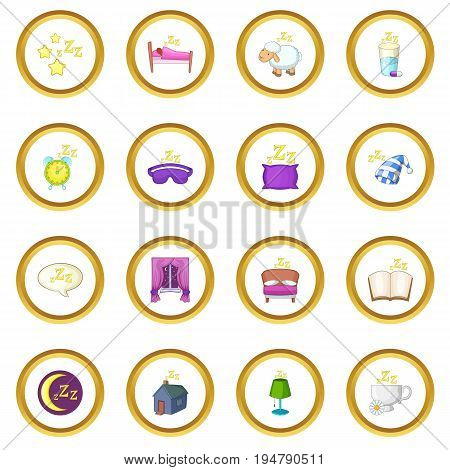 Sleep symbols icons circle gold in cartoon style isolate on white background vector illustration