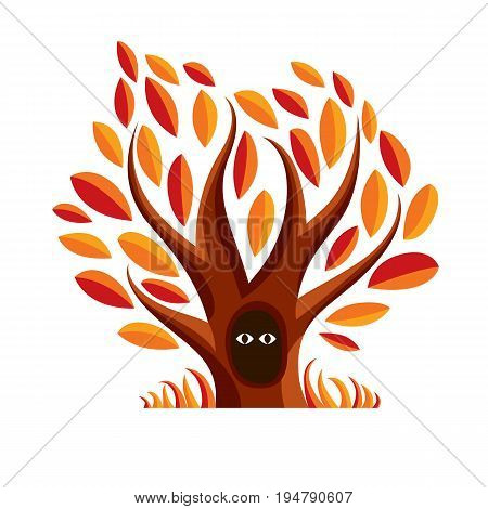 Vector art illustration of branchy tree with den. Two eyes of an animal looking from hollow symbolic graphic image fairy idea.