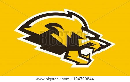 The logo of a lion s head. Silhouette in profile. Logo for the sports team. Aggressive and dangerous predator. King of beasts. African animals. The dynamic image. Vector illustration. Flat style.