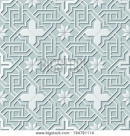 Vector Damask Seamless 3D Paper Art Cross Chain Flower