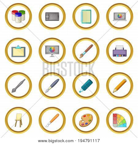 Drawing and painting tools icons circle gold in cartoon style isolate on white background vector illustration