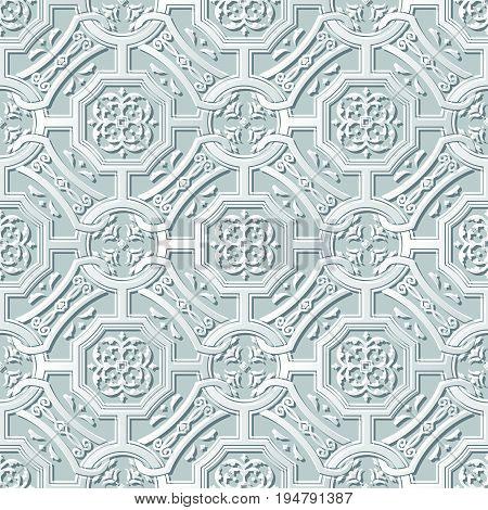 Vector Damask Seamless 3D Paper Art Polygon Cross Chain