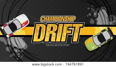Top View Of A Drifting Cars. Drift Banner For Web Or Print. Flat Vector.