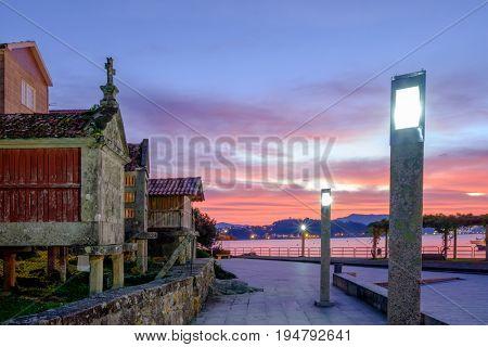 town of Combarro at sunrise, Pontevedra, Galicia, Spain