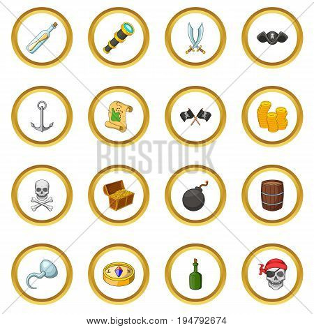 Pirate culture symbols icons circle gold in cartoon style isolate on white background vector illustration