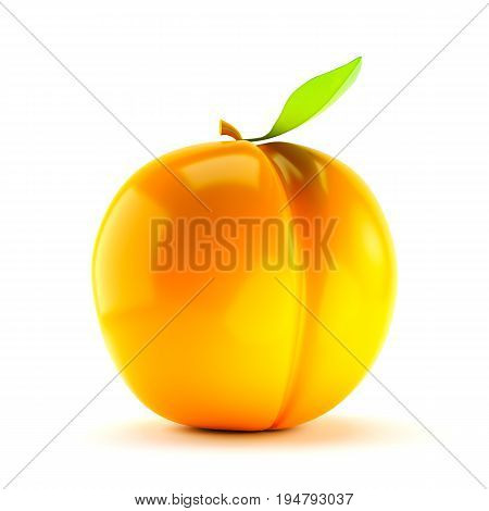Single juicy apricot with stem and leaf isolated on white background. 3d render