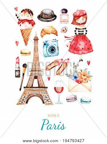 Handpainted postcard with cosmetics, Tour Eiffel, young girl