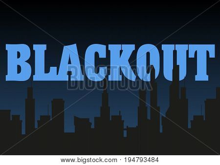 Blackout city vector illustration. Dark silhouettes of buildings