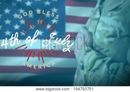 Mid section of military soldier taking oath against digitally generated image of happy 4th of july message