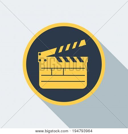 Yellow open clapperboard icon. Movie clapper board. Movie logo. Flat vector cartoon illustration.