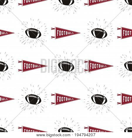 American football seamless pattern with sports symbols - ball, pennant, star lights and tpography elements. Stock vector background, wallpaper.