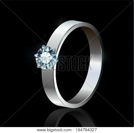 Silver ring with diamond on black background