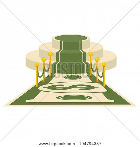 Dollar carpet for greeting ceremonies. Award, honoring the winners, famous people, celebrities. Flat vector cartoon carpet illustration. Objects isolated on a white background.