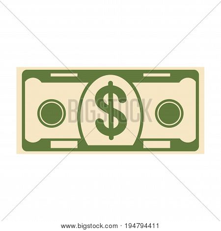 Paper dollar banknote coin. Symbol of wealth, success and good luck. Bank and Finance. Flat vector cartoon illustration. Objects isolated on a white background.