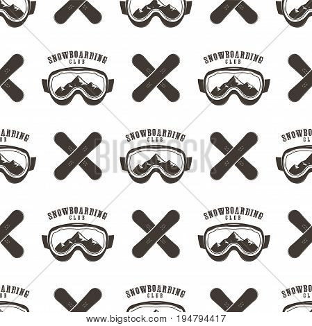 Snowboard seamless background. Winter ski pattern design with boards, snowboards mask and typography elements. Stock vector isolated on white. Monochrome style.