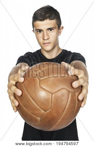 soccer player hold his vintage ball isolated on white background