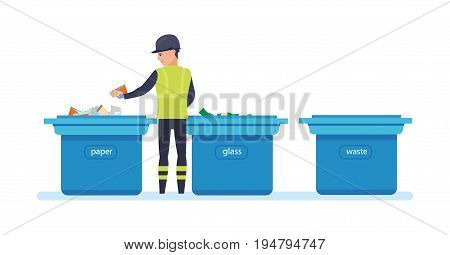 Employee of service collect garbage, sorts by bags and by type of garbage, for further processing of household waste. Cleaning city. Household waste, recycling. Service recycling.