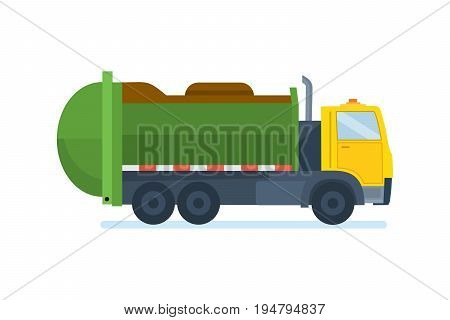 Garbage truck. Residential and commercial solid waste collection and transportation. Cleaning city. Household waste, service recycling. Vector illustration on white background.
