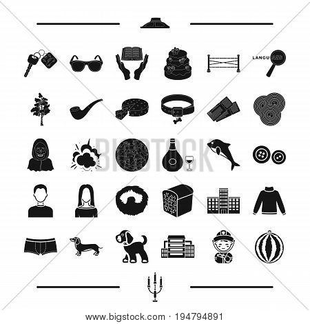 animal, food, appearance and other  icon in black style.education, clothing, architecture icons in set collection.