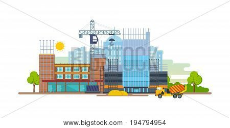 Process of building a house premises with the help of special equipment and transport a crane and a concrete mixer. Construction building. Vector illustration isolated on white background.