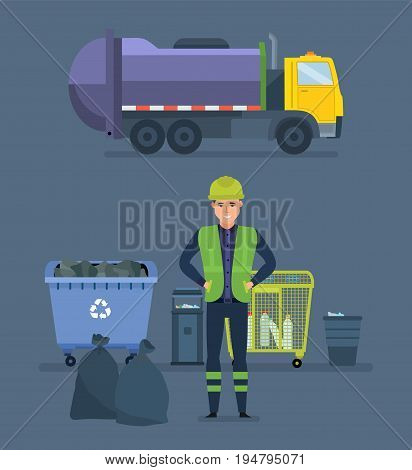 Worker collects garbage in a garbage recycling truck to take him out of the city. Cleaning city. Household waste, recycling of industrial waste. Vector Illustration isolated in cartoon style.