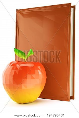 Low poly red apple near the book isolated on white background. 3d rendering