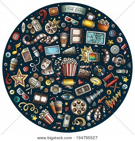 Colorful vector hand drawn set of Cinema cartoon doodle objects, symbols and items. Round composition