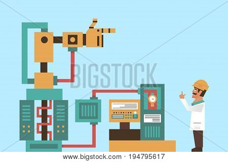 Robotic system, advanced technology, information graphics. Engineer, Professor at work. The production process. Computer, electronics, wires robot arm tentacles Vector illustration