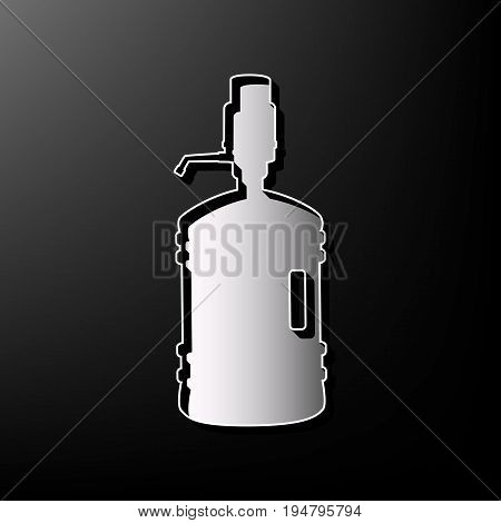 Plastic bottle silhouette with water and siphon. Vector. Gray 3d printed icon on black background.