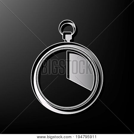 The 20 seconds, minutes stopwatch sign. Vector. Gray 3d printed icon on black background.