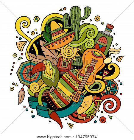 Cartoon hand-drawn doodles Latin American illustration. detailed, with lots of objects vector background