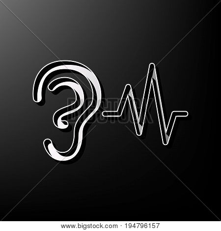 Ear hearing sound sign. Vector. Gray 3d printed icon on black background.