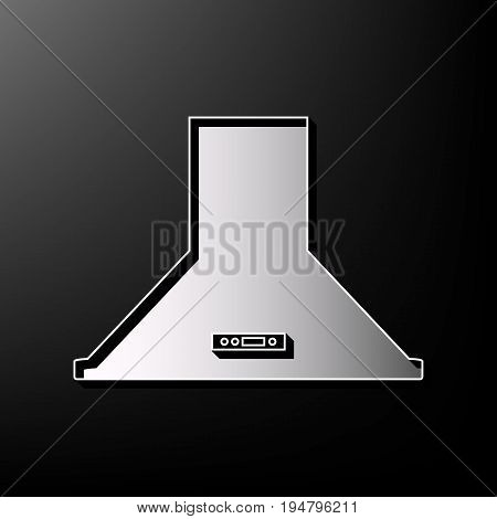 Exhaust hood. Kitchen ventilation sign. Vector. Gray 3d printed icon on black background.