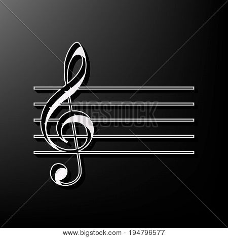 Music violin clef sign. G-clef. Vector. Gray 3d printed icon on black background.