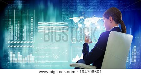 Full length of businesswoman using mobile while sitting on chair  against blue abstract light spot design