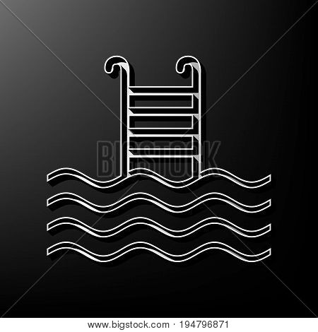 Swimming Pool sign. Vector. Gray 3d printed icon on black background.