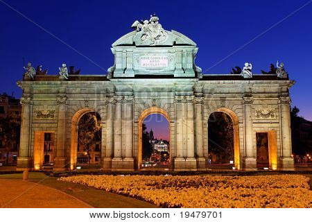 Night view of the monument Puerta de Alcala, Madrid, Spain