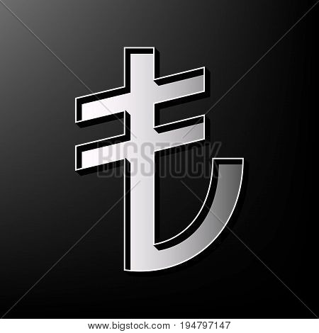 Turkiey Lira sign. Vector. Gray 3d printed icon on black background.