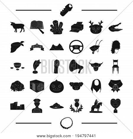 necklace, jewel, animal, taxi and other  icon in black style. police, computer, travel icons in set collection.