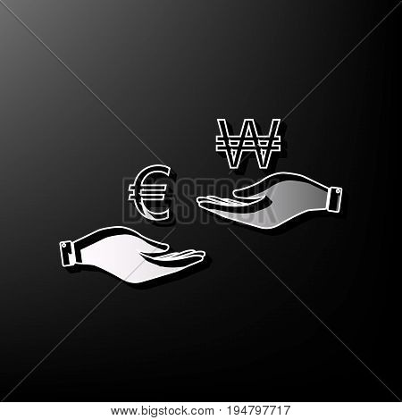Currency exchange from hand to hand. Euro and Won. Vector. Gray 3d printed icon on black background.