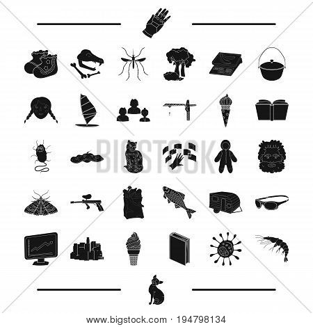 animal, paintball, insect and other  icon in black style. building recreation, travel, education icons in set collection.