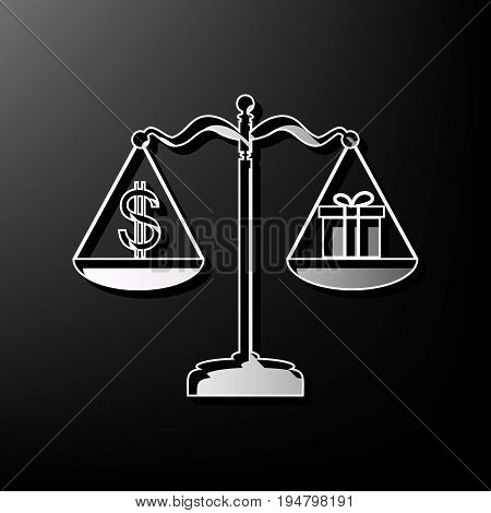 Gift and dollar symbol on scales. Vector. Gray 3d printed icon on black background.
