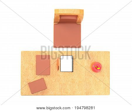 Teacher table with a chair books notebook and pen isolated on white background top view. 3d rendering
