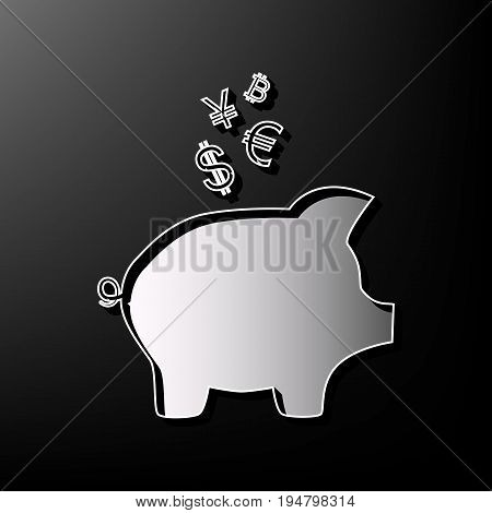 Piggy bank sign with the currencies. Vector. Gray 3d printed icon on black background.