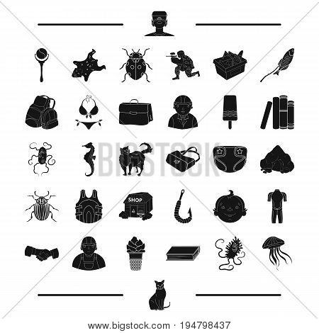 animal, rest, childhood and other  icon in black style.game, surfing icons in set collection.