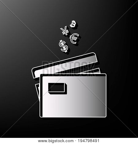 Credit cards sign with currency symbols. Vector. Gray 3d printed icon on black background.