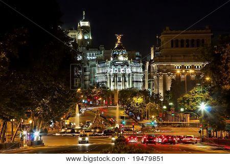 Night view of Plaza de Cibeles in Madrid, Spain